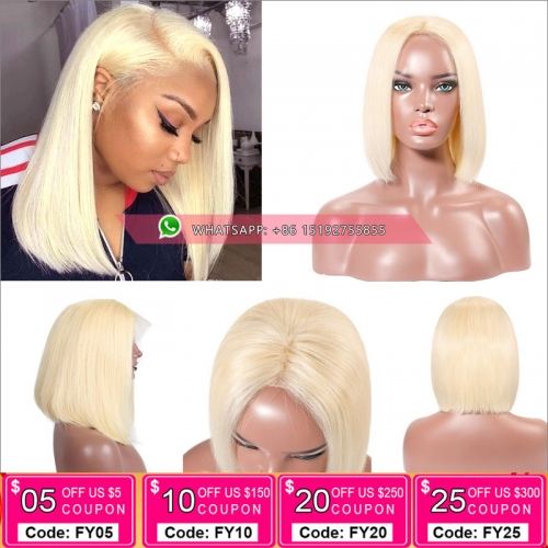Fashion #613 Color Full Lace Human Hair bob Wigs Brazilian Remy Hair, Silky stragith lace front bob Wigs With Baby Hair Pre Plucked