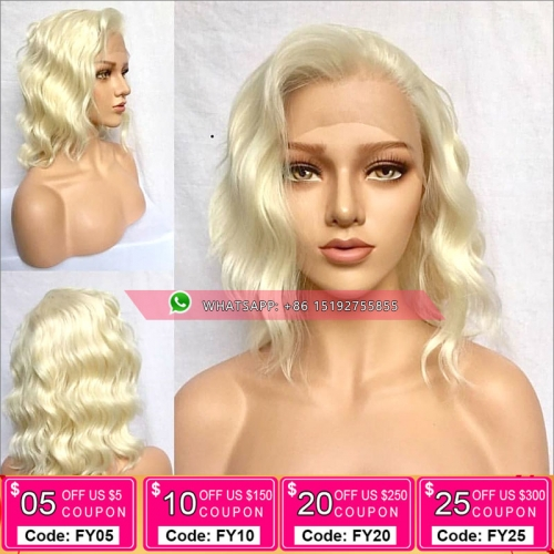 Fashion #613 Color Full Lace Human Hair bob Wigs Brazilian Remy Hair, Natural wave lace front bob Wigs With Baby Hair Pre Plucked