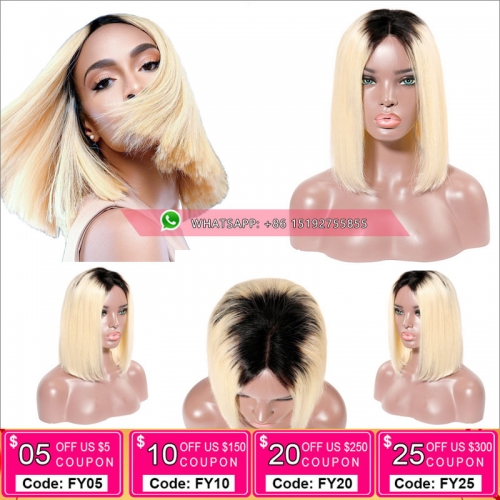 Fashion #1b/613 Color Full Lace Human Hair bob Wigs Brazilian Remy Hair, Silky stragith lace front bob Wigs With Baby Hair Pre Plucked