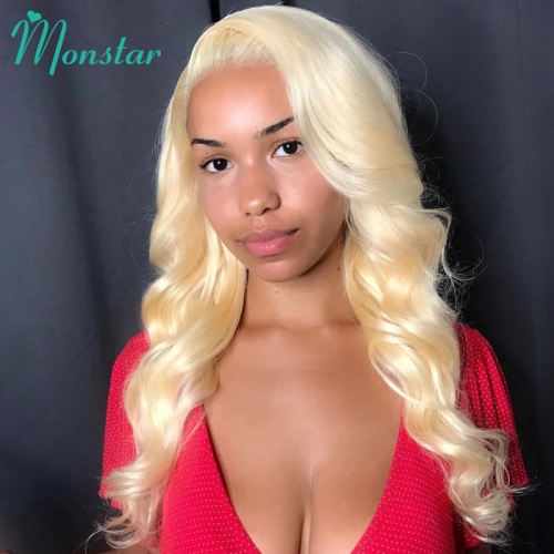 Fashion body wave #613 Full Lace Human Hair Wigs, #613 body wave lace front Wigs With Baby Hair Pre Plucked