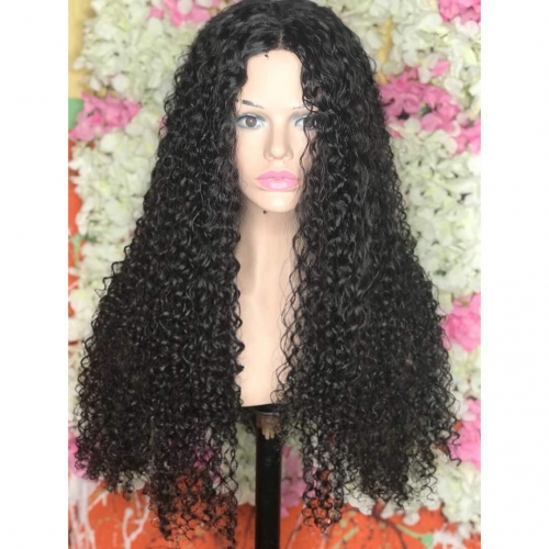 Wholesale  tight curly brazilian full lace Human Hair Wigs For black women,  100% human hair glueless Lace Wig with baby hair.