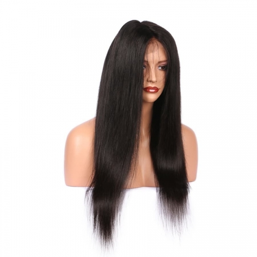 Top Quality  Silky straight full lace Wigs For black women,  100% human hair Lace Wig Pre Plucked.
