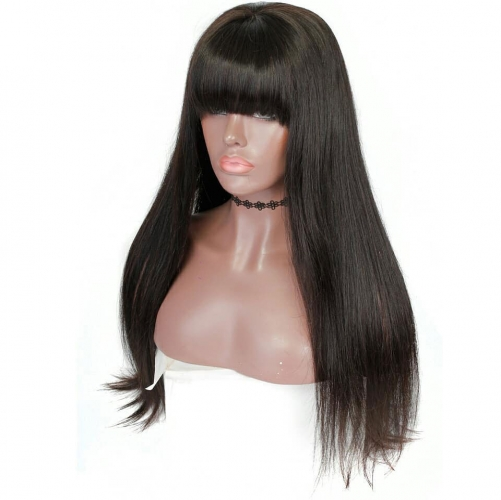Top Quality Silky straight full lace human hair  Wigswith bang brazilian with baby hair