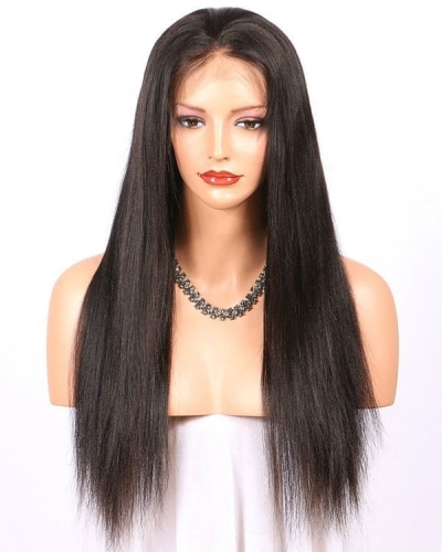 Top Quality light yaki straight human hair Wig brazilian lace wigs for black women