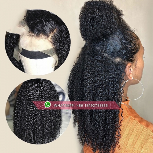 Top Quality afro kinky curly full lace human hair Wig with bang ,brazilian wig full lace free shipping