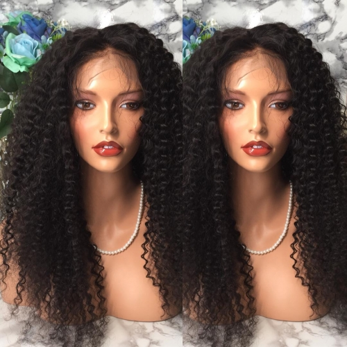 Wholesale Tight curly full lace Wig  human hair  bleached knots,brazilian lace wig with baby hair