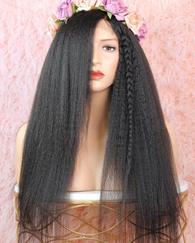 Factory direct sale Kinky straight  African American  full lace wigs with baby hair