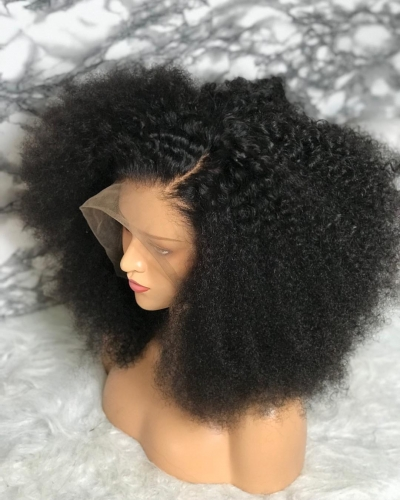 Top Quality Brazilian afro kinky curly 360 lace Wigs human hair For Black Women Remy Hair Lace 360 Wig 180% density