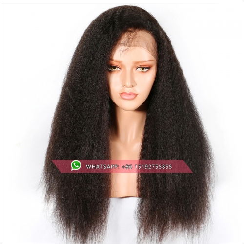 100% virgin Brazilian hair Kinky straight  lace front human hair wig Pre Plucked,13x6 ,13x4inches front lace wigs free shipping