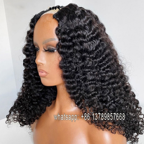 Deep Wave Wigs Glueless U Part Wig Human Hair Wigs 200% Brazilian Can Do Any Side Remy Can Be Permed & Dye