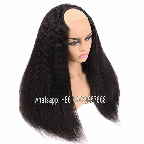 kinky straight  Wigs Glueless U Part Wig Human Hair Wigs 200% Brazilian Can Do Any Side Remy Can Be Permed & Dye