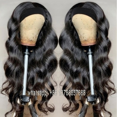 Head band Wigs For Black Women Malaysian Body Wave Human Hair Wigs With Headband Glueless Remy Scarf Headband Wig Human Hair