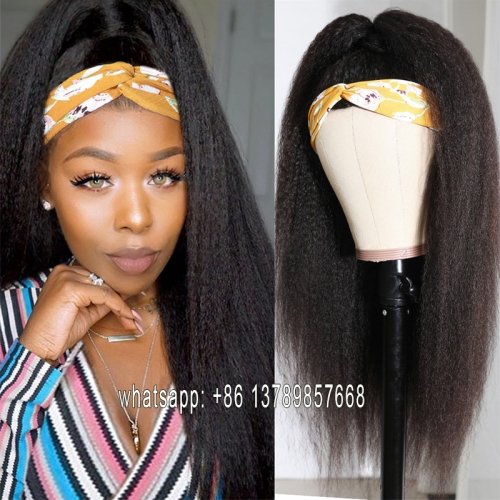 Glueless Yaki Headband Wig Human Hair Kinky Straight 10-26 Inch Peruvian Scarf Wig Remy Natural Head band Wigs For Black Women