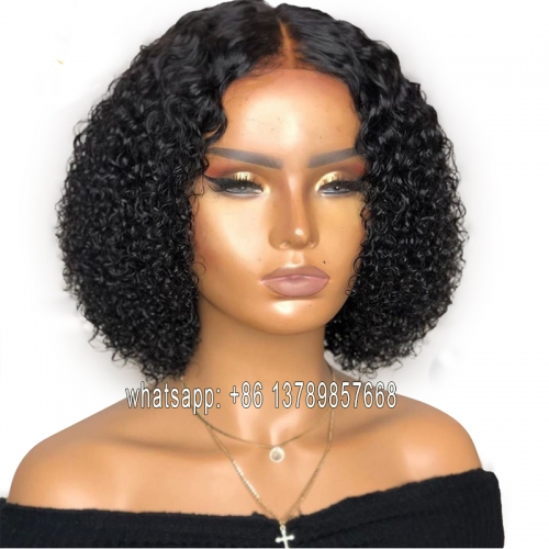Jerry Curly Human Hair T Part Lace Wig Pre Plucked With Deep Middle Part Curly Bob Brazilian Remy Lace Front Human Hair Wig 180%