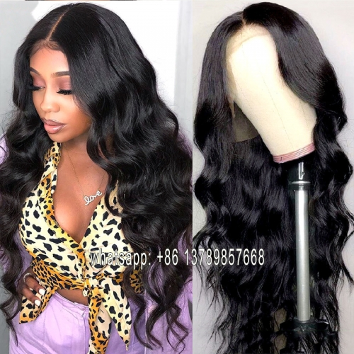 Ccollege Body Wave  T Part Lace Wigs Brazilian Natural Color Remy Human Hair Lace Front Wigs For Black Women 150% Density