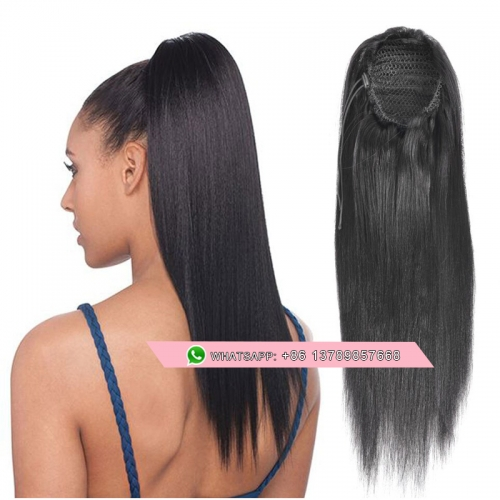 Italian Yaki Straight Drawstring Ponytail Human Hair Extension Yaki Kinky Straight Clip Ins Ponytail For Black Women Natural
