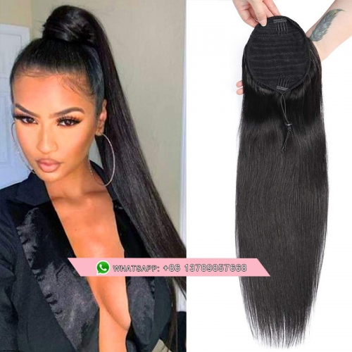 Ponytail Human Hair Extensions With Clip In Drawstring Ponytail Straight Brazilian Hair Ponytails For Women