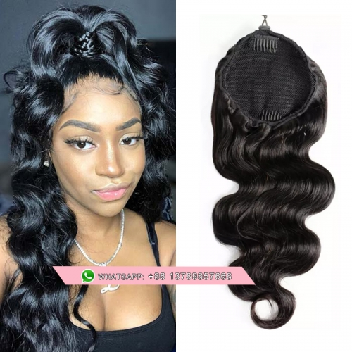 Free shipping  Peruvian Hair Body Wave Drawstring Ponytail  Body Human Hair Ponytail Extensions For Women Natural Black