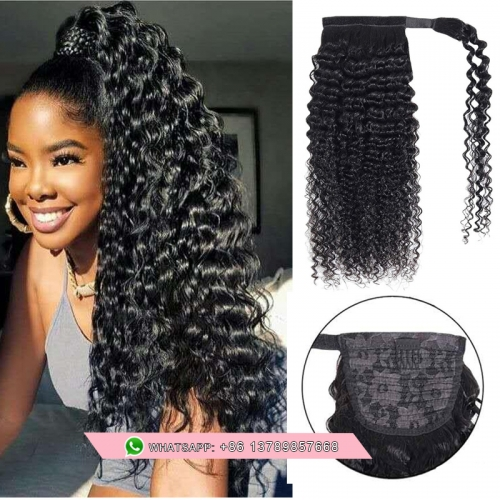 Free shipping Human Hair Ponytail Extension 9A Brazilian Kinky Curly Black   Pony Tail Real Hair Pieces For Women Clip In Weav ponytails