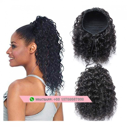 Drawstring 100 Human Hair Ponytail Extensions Water Wavy Curly   Clip Ins Ponytail Hairpiece Bun Hair Extensions Natural Curly Ponytail