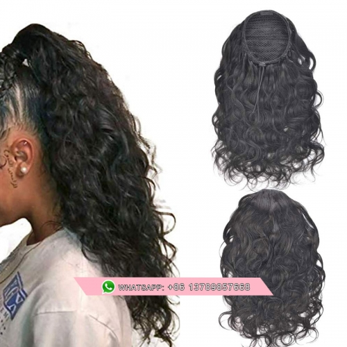 Drawstring Ponytail Human Hair Extensions Remy Clip In loose Wave Ponytail For Black Women Soft Feel Hair