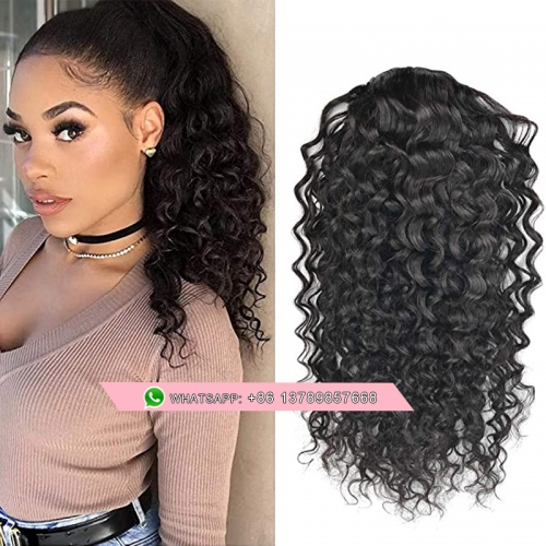 Natural Wavy Curly Human Hair Ponytail Hair Piece  Natural Black 100% Remy Hair Drawstring Long Ponytail Clip in Hair Extensions Water Wave One Piece