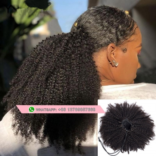 Free shipping drawstring ponytail for black women Afro kinky curly human hair ponytail afro puff updo clip in hair extension